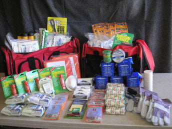 Emergency preparedness survival kit for disasters. Contains emergency supplies for disasters