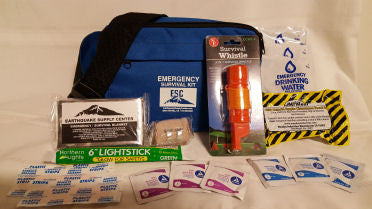A one-person emergency survival kit, lightweight, for people out for a stroll or a ride, packed in a waist pack.  Perfect  bug-out bag for an emergency/disaster.