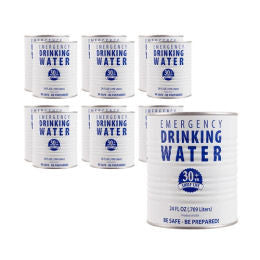 Water, Case of 6 Cans, 30-Year Shelf Life
