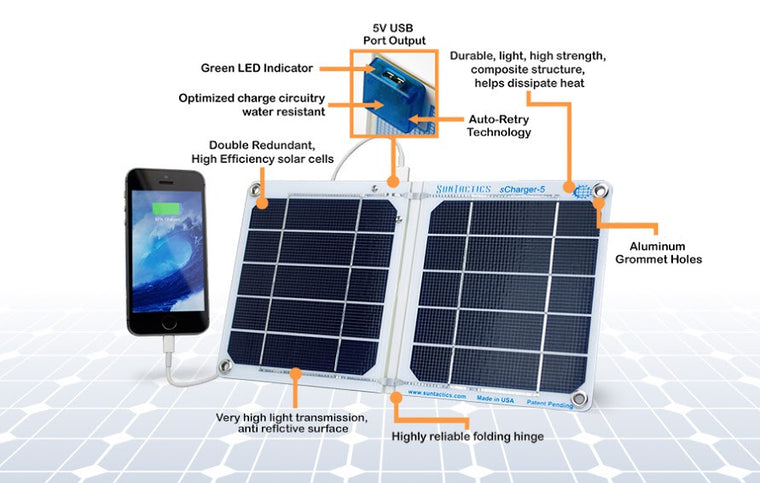 Solar Charger Panel, USB Port, 5 Watt