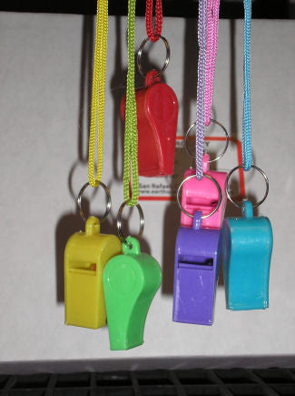 Whistle, Police-style, Plastic w/Lanyard #604-P