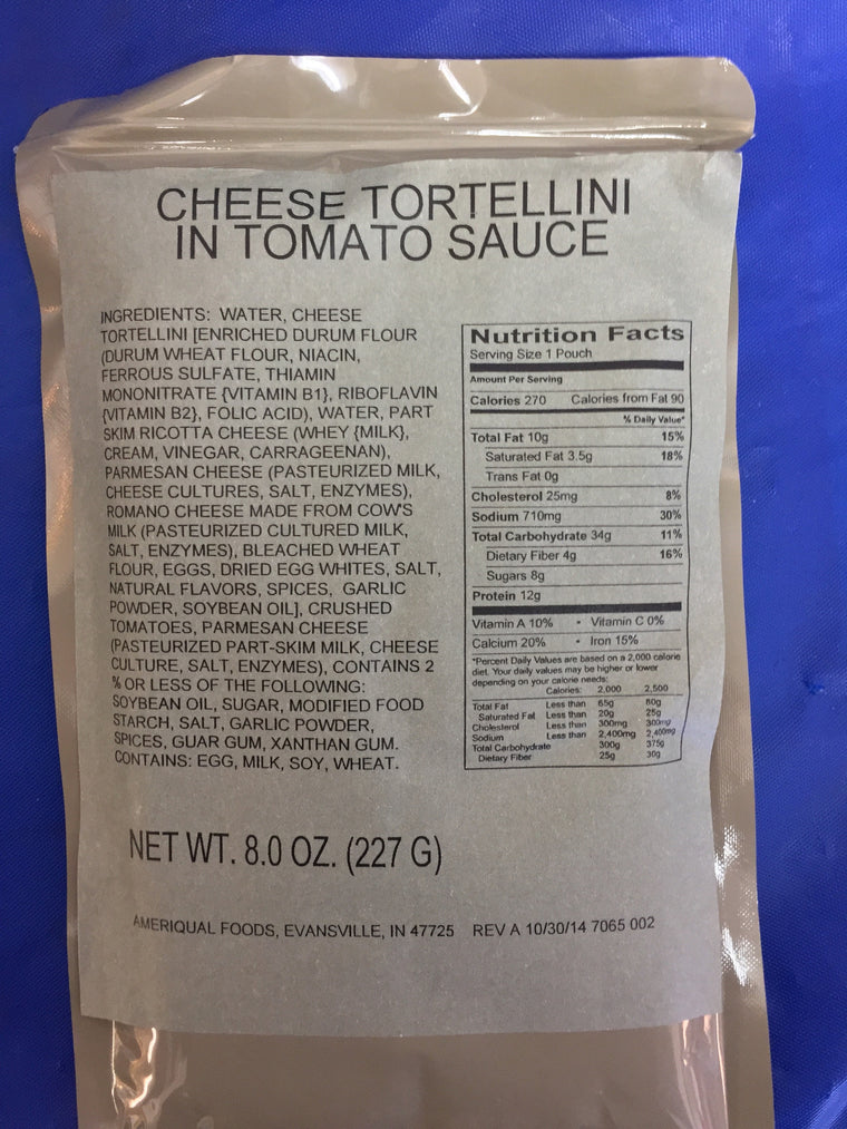 MRE Entrée - Cheese Tortellini in Tomato Sauce