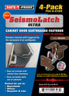 SEISMOLATCH ULTRA: Automatic Cabinet Door Earthquake Latches | 4-Pack
