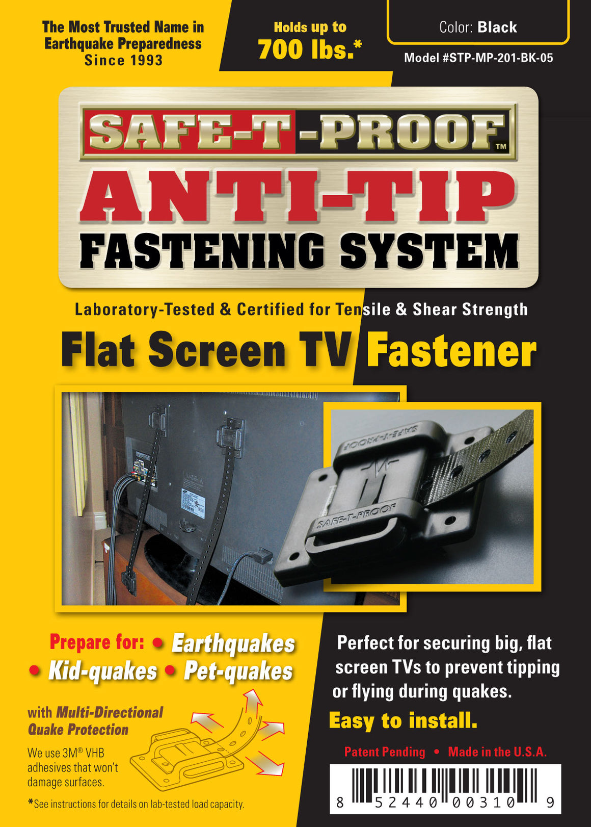 SAFE-T-PROOF Flat Screen TV / Monitor Anti-Tip Fastener