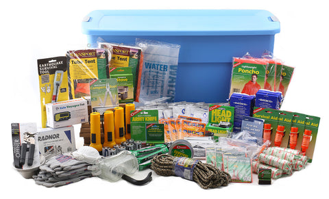 Emergency preparedness survival kit for disasters. Contains emergency and survival supplies for disasters. Comes with instruction booklet.