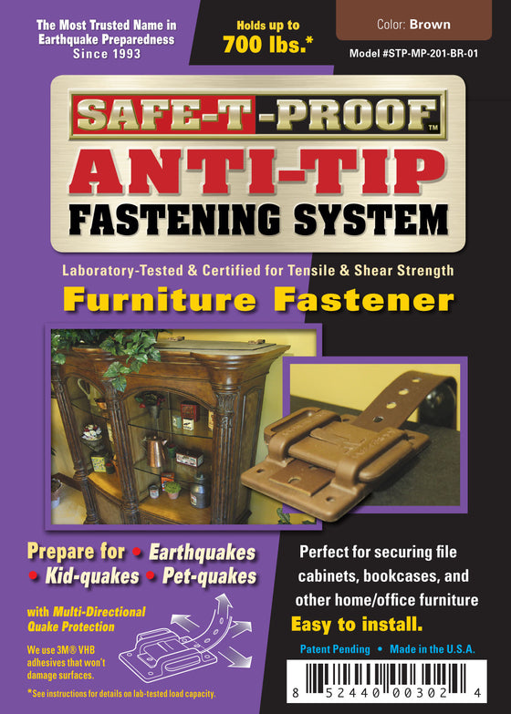 SAFE-T-PROOF Furniture, Bookcase & File Cabinet Anti-Tip Fastener