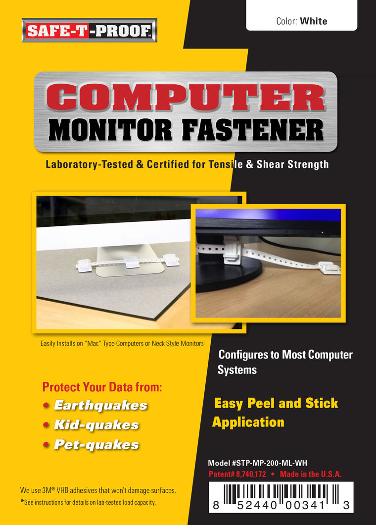 SAFE-T-PROOF Computer Monitor Anti-Tip Fastener