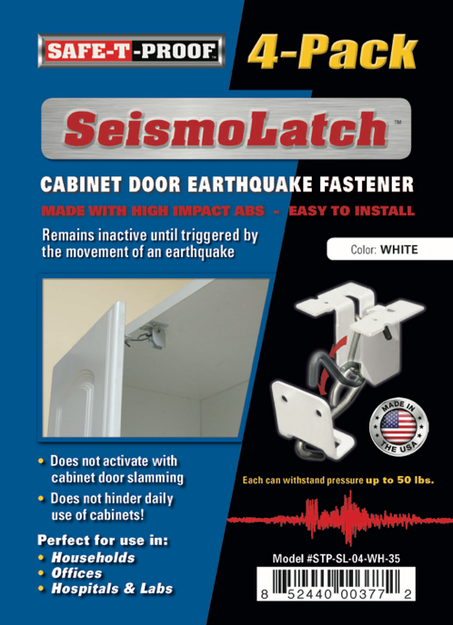 SEISMOLATCH: Automatic Cabinet Door Earthquake Latches | 4-Pack