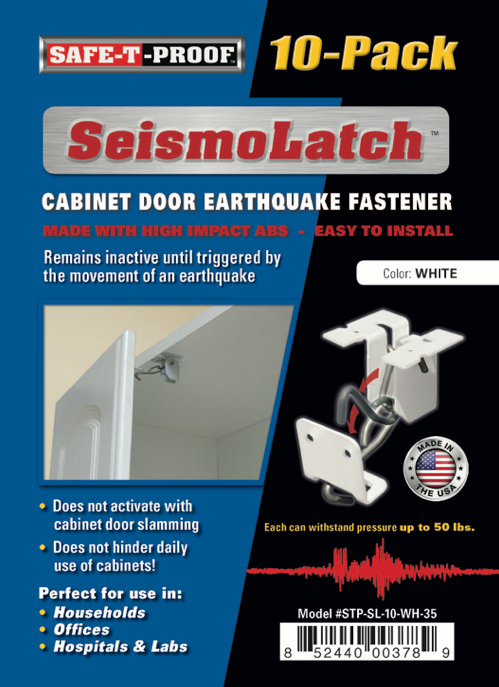 SEISMOLATCH: Automatic Cabinet Door Earthquake Latches | 10-Pack