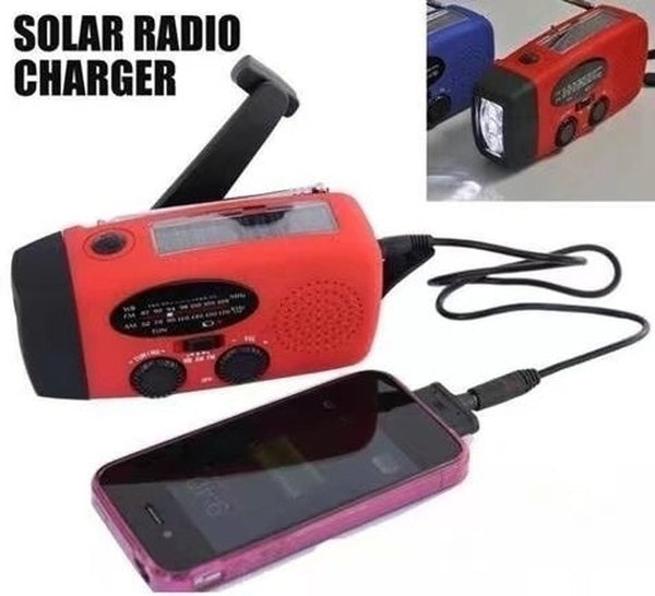 Solar Handcrank Emergency Radio & Cell Phone Charger - WITH USB Connector!