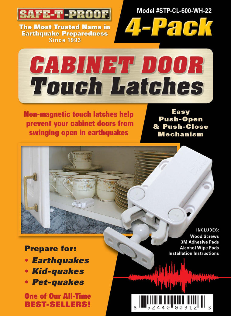 TOUCHLATCH: Non-Magnetic Cabinet Door Earthquake Latches | 4-Pack