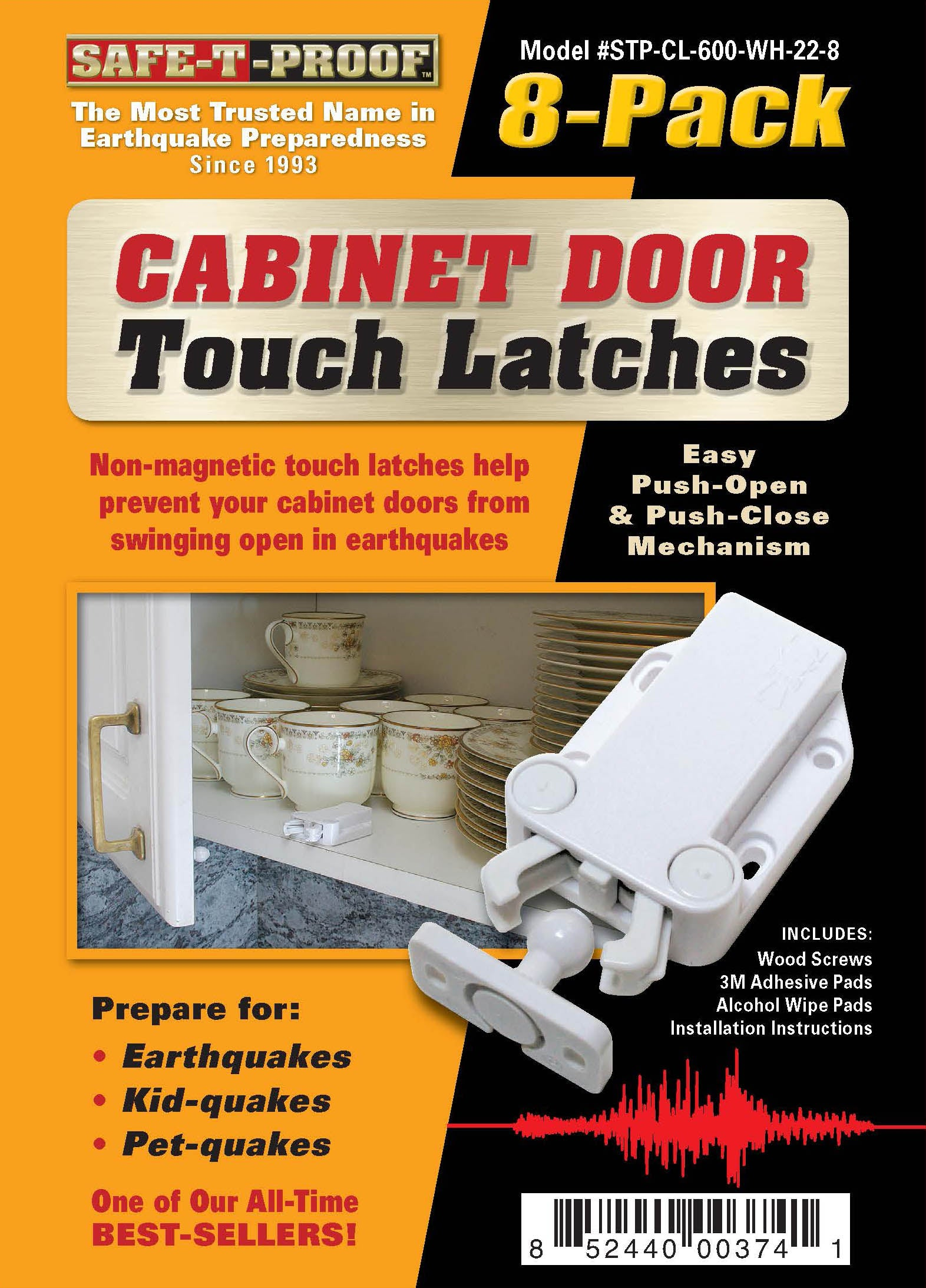 Touchlatch Non Magnetic Cabinet Door Earthquake Latches 8 Pack