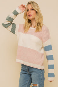 Multi-color stripe sweater