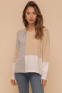 Color block loose fit sweater