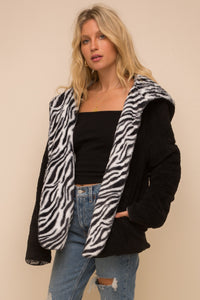 Animal print reversable fleece
