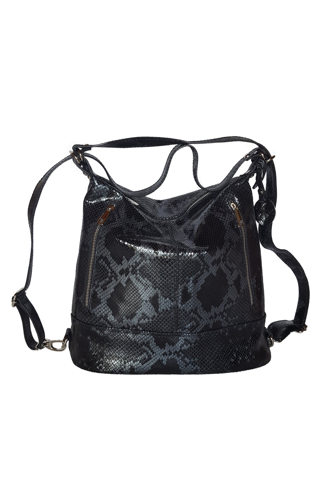 Python Leather convertible Backpack-Tote