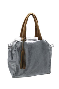 Suede Laminated Leather Bag