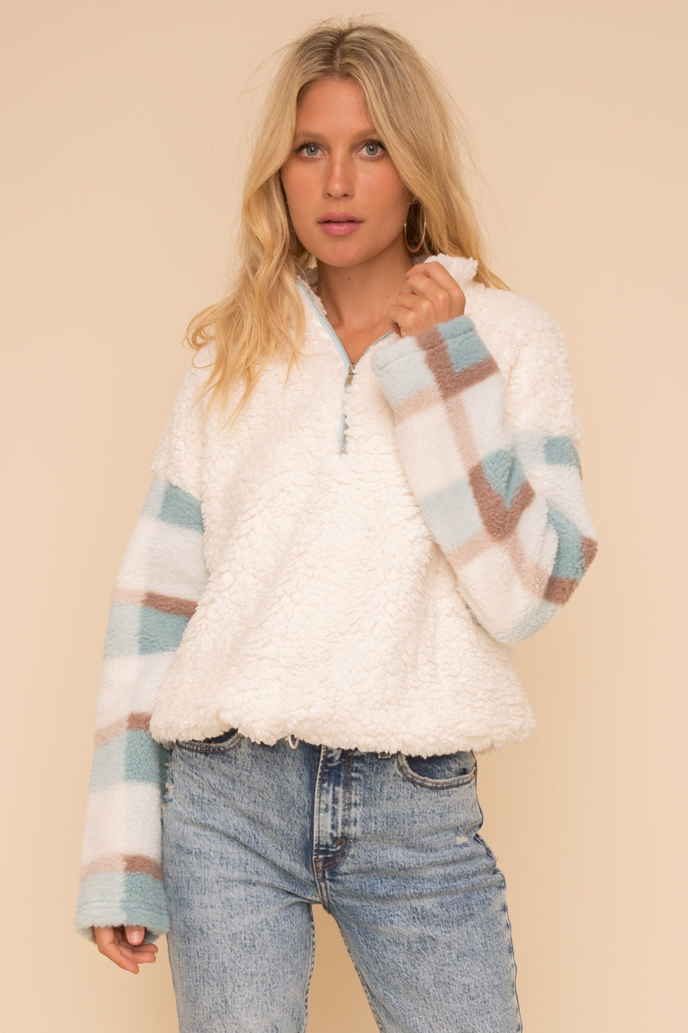 Plaid fuzzy pullover