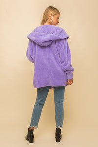 Plush Hooded Sherpa Jacket