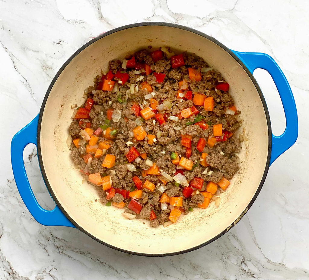 Cooking Ground Beef With Vegetables