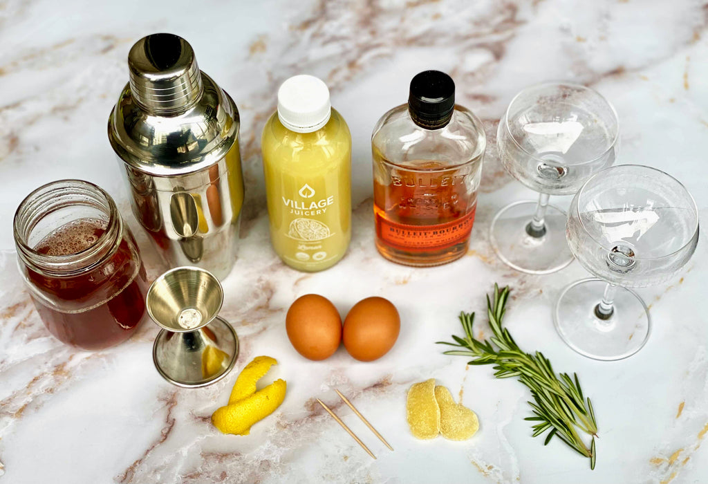 Maple, Ginger, Rosemary Whisky Sour Ingredients