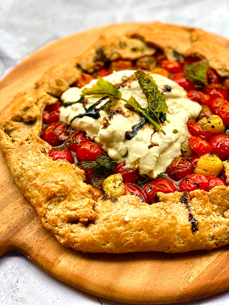 Tomato & Burrata Galette With Balsamic Reduction Plated