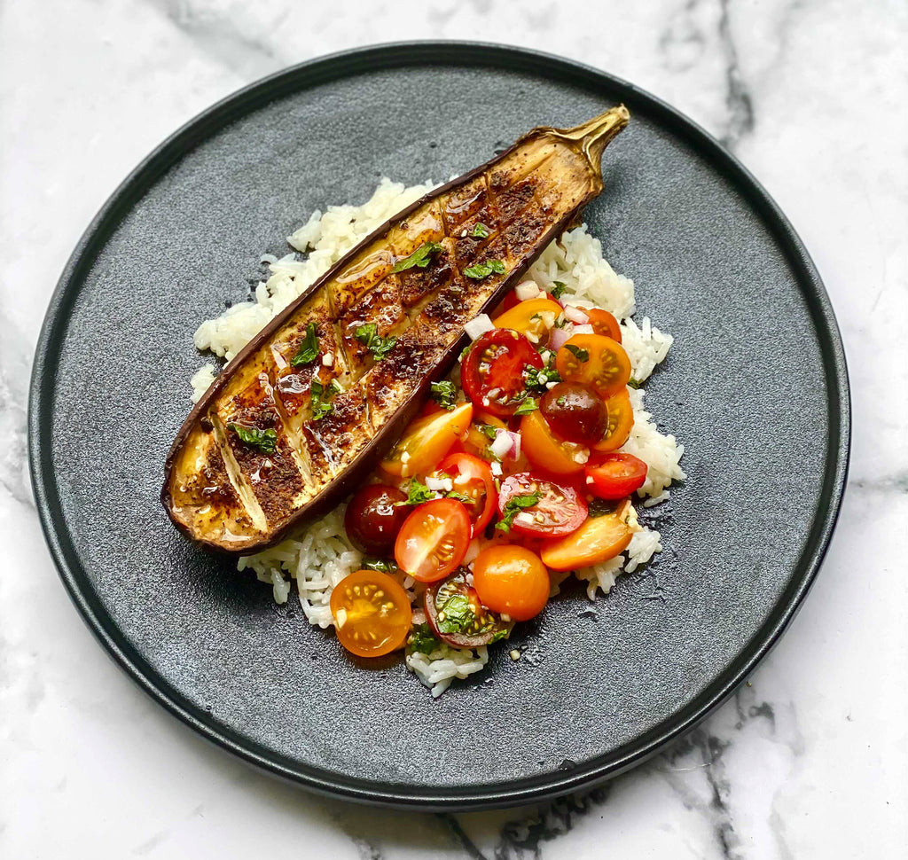 Spiced Eggplant Steaks Plated