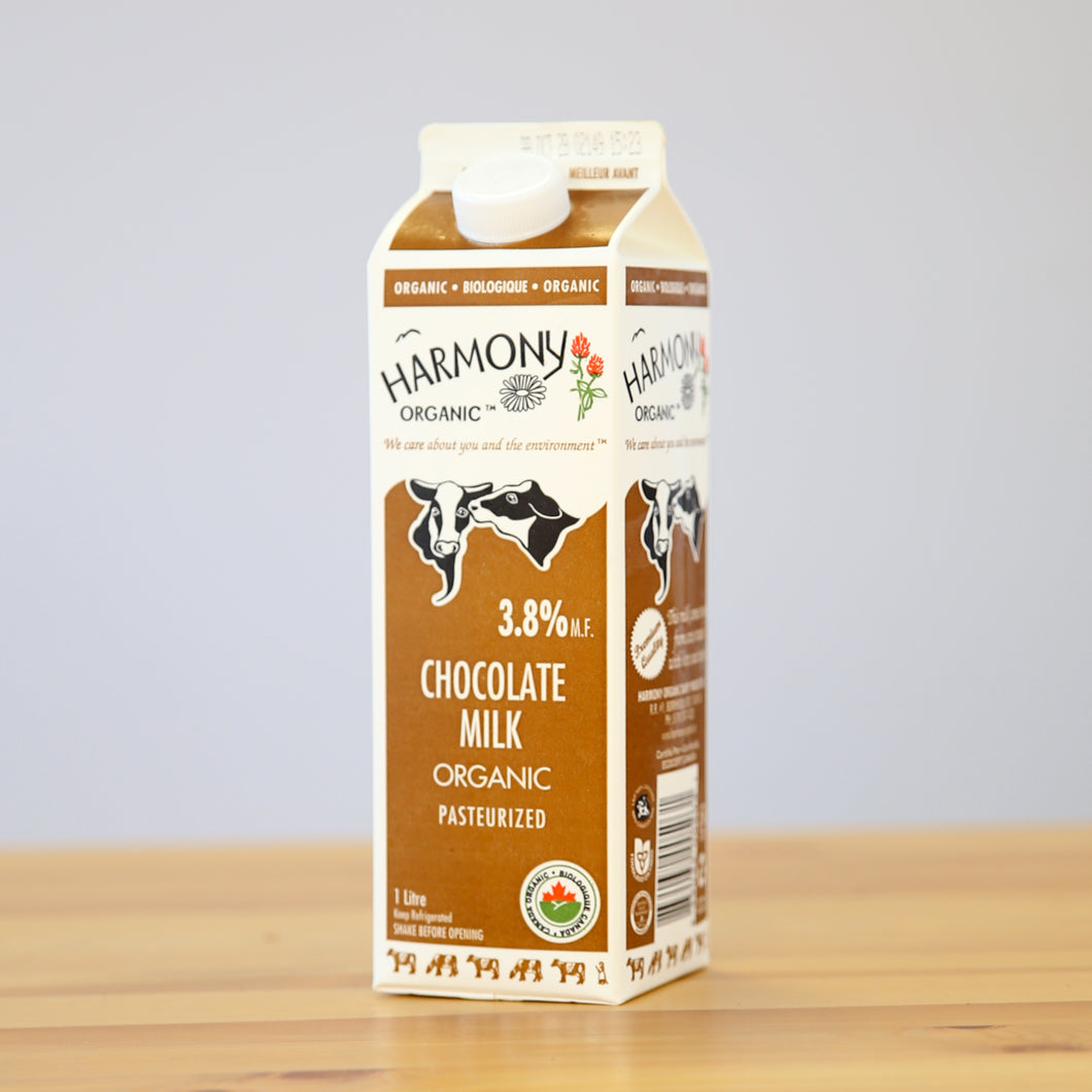 Chocolate Milk, Harmony Organics 1L Carton