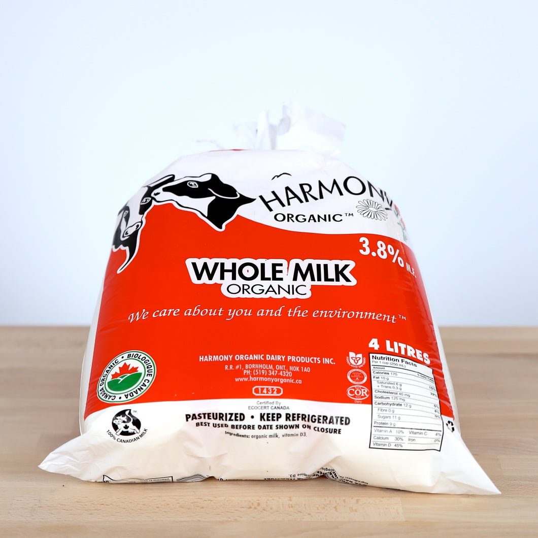 Organic Whole Milk, 3.8% 4L Bag