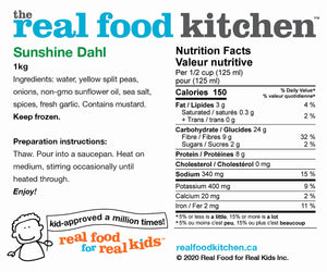 Sunshine Dahl Nutritional Info (Real Foods)