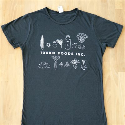 100km Foods Apparel (Women's T-Shirt in Charcoal)