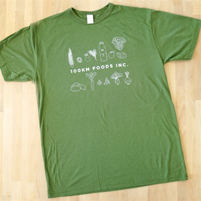 100km Foods Apparel (Men's/Unisex T-Shirt in Olive Green)