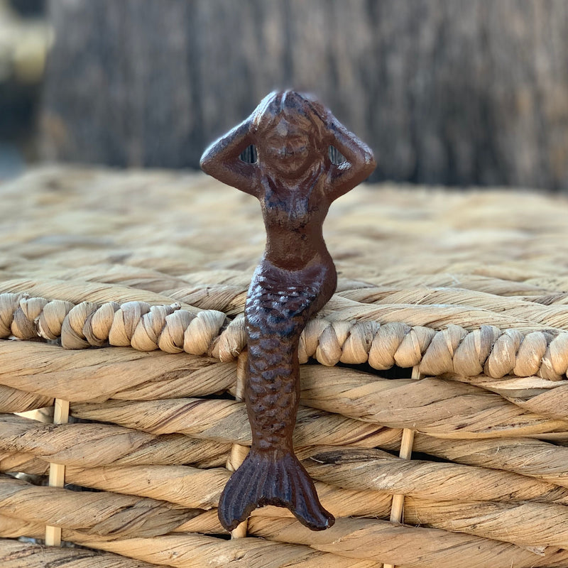 Cast Iron Mermaid Sitting on Ledge