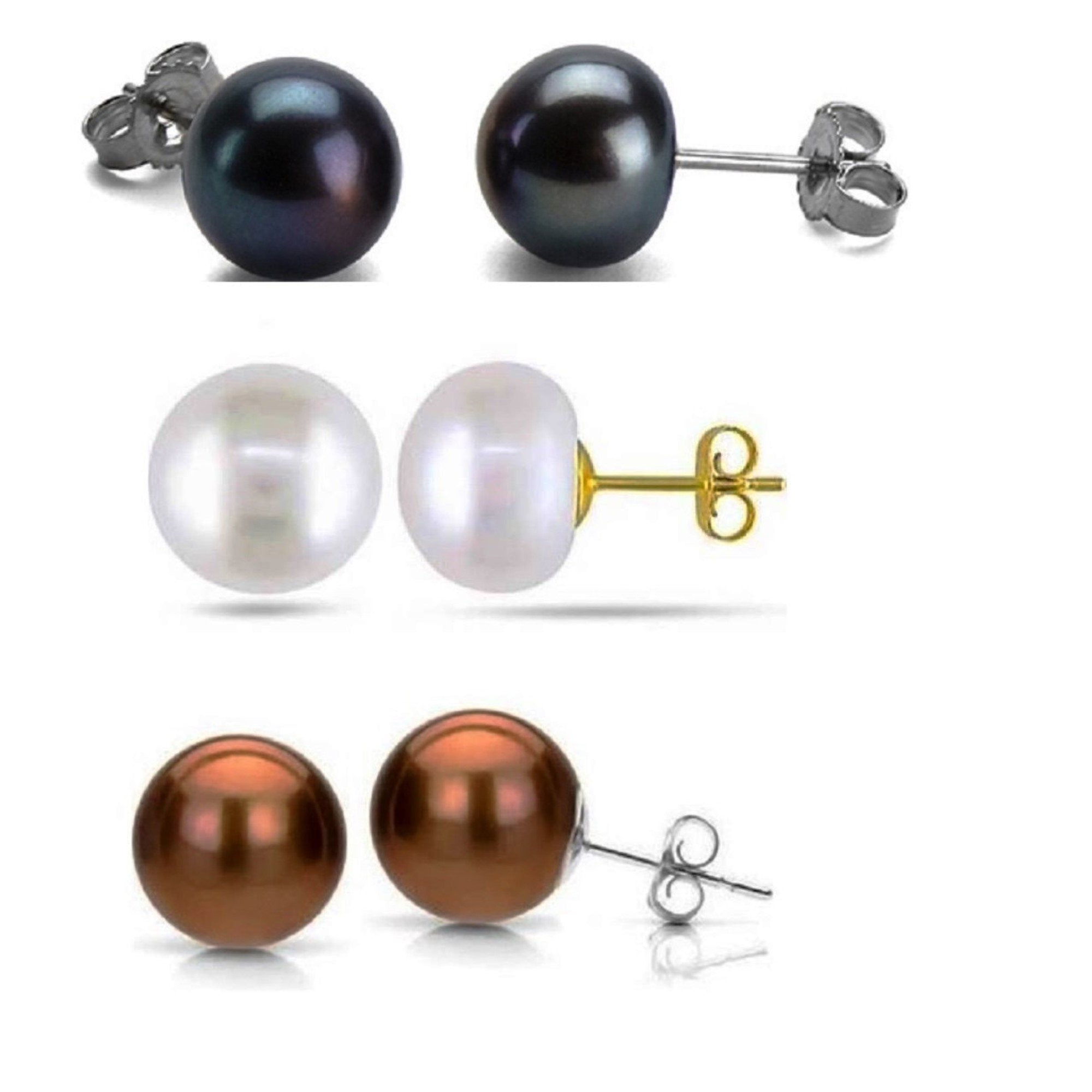 Set of Three Colored Freshwater Pearl Earrings
