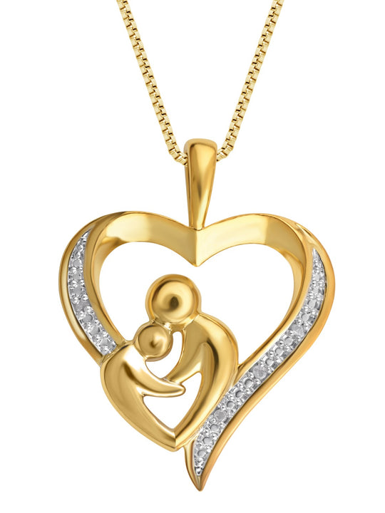 0.03 Carat Diamond Mother & Child  Heart Pendant Necklace In 18K Gold Plated