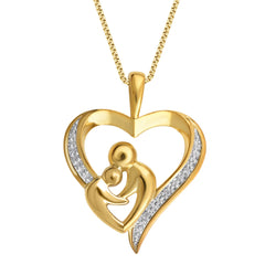 Diamond Mother & Child Heart Pendant Necklace In 18K Gold Plated
