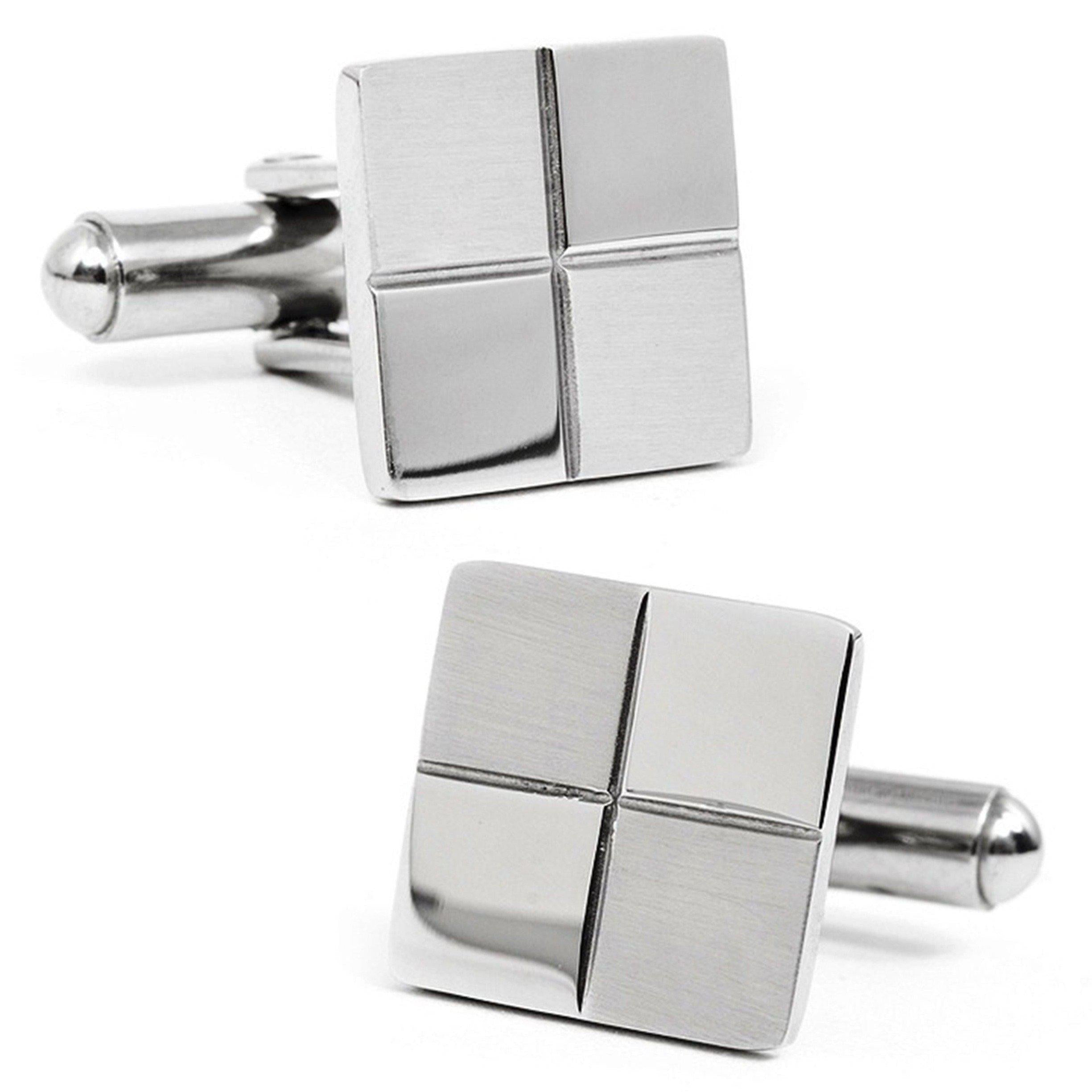 Checkerboard Mother-of-Pearl and Stainless Steel Cuff links