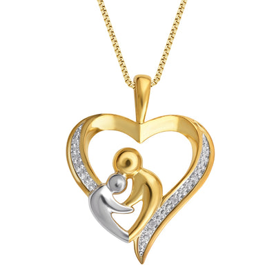 Diamond Two Tone Mother & Child Heart Pendant Necklace In 18K Gold Plated
