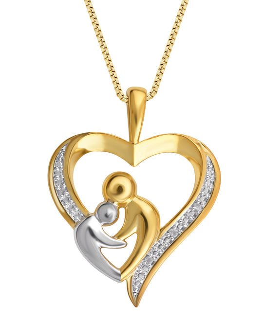 0.03 Carat Diamond Two Tone Mother & Child Heart Pendant Necklace In 18K Gold Plated