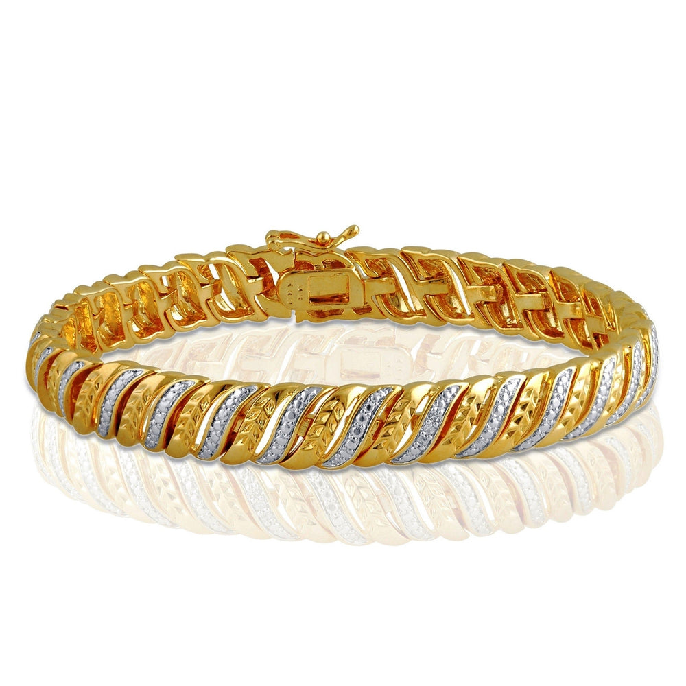 Leaf Styled Diamond Accent Bracelet In 14k Yellow Gold Plated