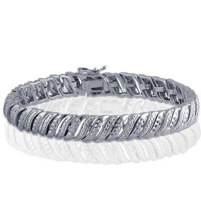 Leaf Styled Diamond Accent Bracelet In 14k White Gold Plated
