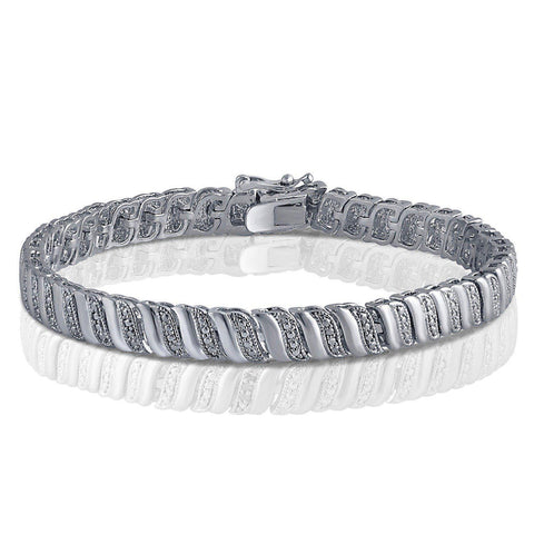 1/4 Cttw Diamond Accent Bracelet In 14K White Gold Plated