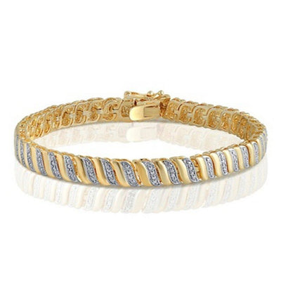 1/4 Cttw Diamond Accent Bracelet In 14K Yellow Gold Plated
