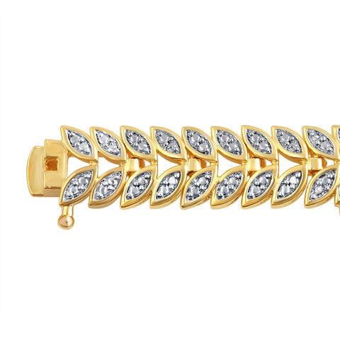 Copy of Diamond Accent Leaf Bracelet In 14k Yellow Gold Plated