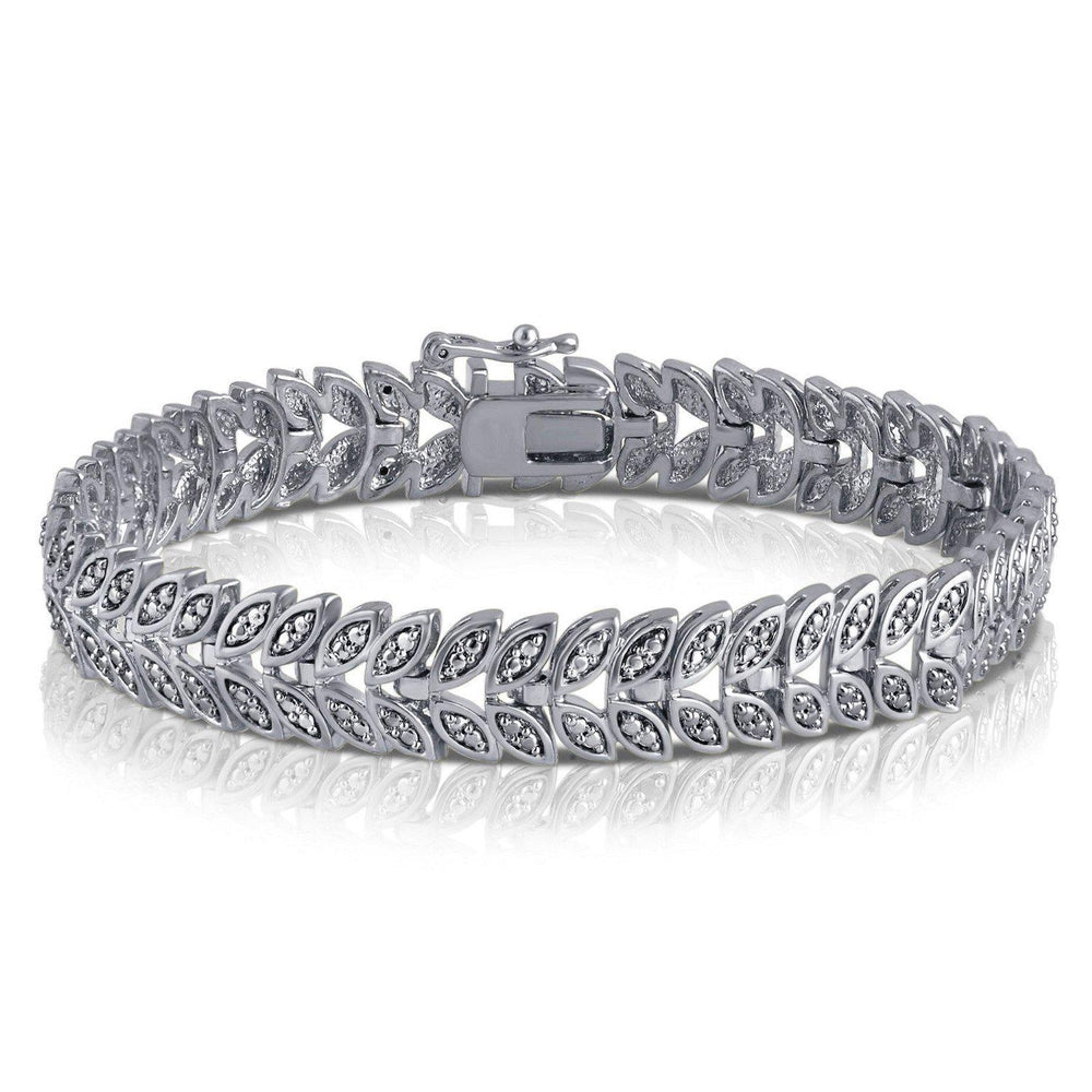 Diamond Accent Leaf Bracelet In 14k White Gold Plated - ShopMilano