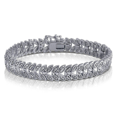 Diamond Accent Leaf Bracelet In 14k White Gold Plated