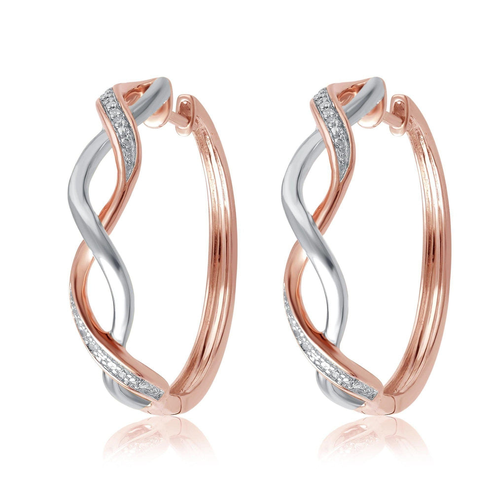 Diamond Accent Twisted Hoop Earrings In 14K Rose Two Tone Gold Plated