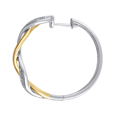 Diamond Accent Twisted Hoop Earrings In 14k Yellow Two-Tone Gold Plated