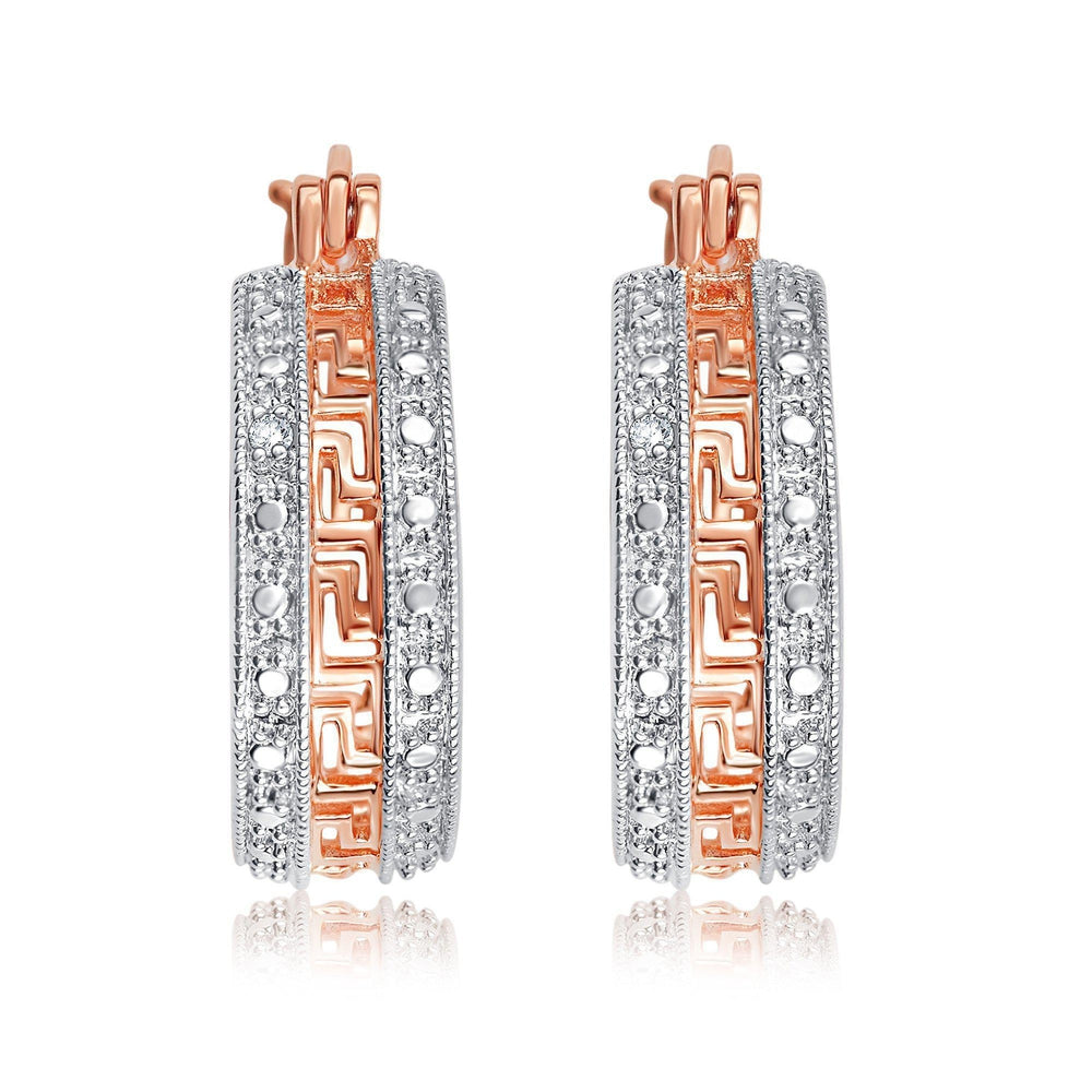 Diamond Accent Greek Key Hoop Earrings In 14k Rose Gold Plated