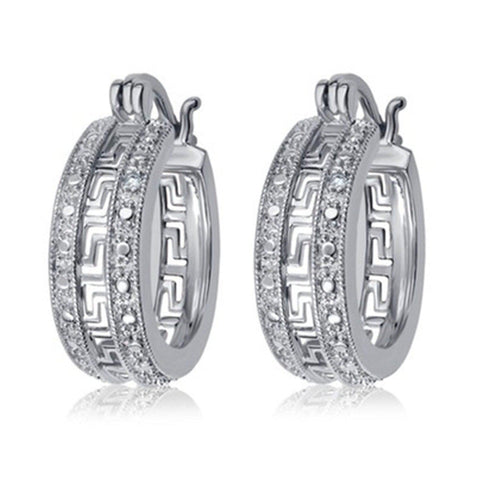 Diamond Accent Greek Key Hoop Earrings In 14k White Gold Plated